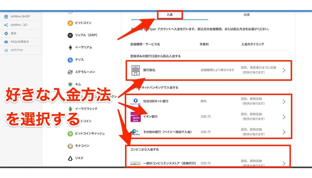 ビットフライヤー,日本円,入金